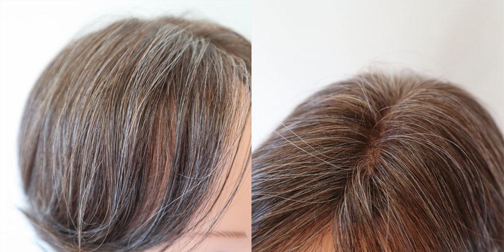 白髪ウィッグのオーダーメイドは、複数色ミックスで分け目も自然