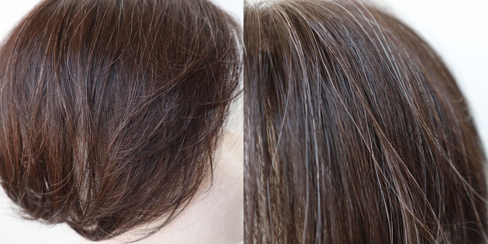 白髪ウィッグのオーダーメイドは、白髪の分量をお客様のお好みでお作りできます